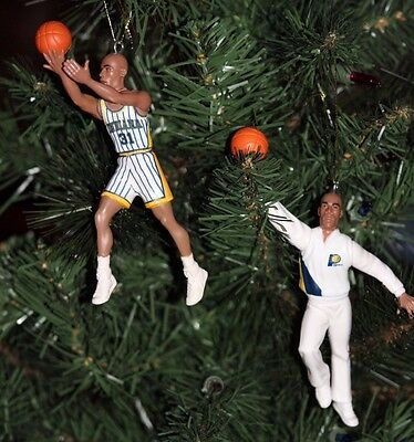 Indiana Pacers Custom Christmas Ornaments Lot Of 2 Reggie Miller Warm Up & Home
