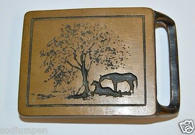 Vintage TECH-ETHER Equestrian Two Horses Solid Brass Belt Buckle RARE Minty