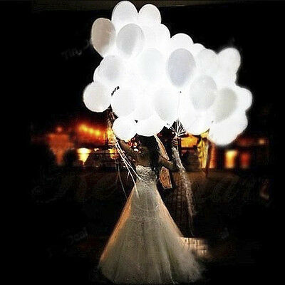 10pcs LED hélium Ballons Air Blanc Mariage Light Up Party Festival Décoration
