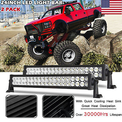2X 24inch 120W COMBO LED LIGHT BAR OFFROAD DRIVING WORK 4WD TRUCK SUV JEEP 20/22