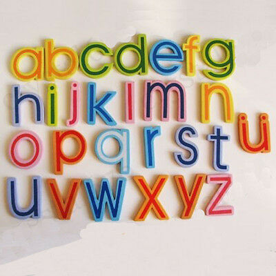 27x Magnetic Wooden Alphabet A-Z Lowercase Letters Fridge Magnets Child Toy EW