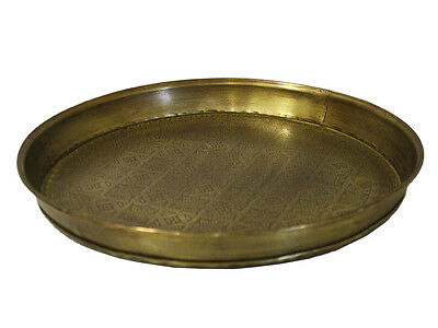 Antique Morrocan Round Etched Tray  NEW Home Decor
