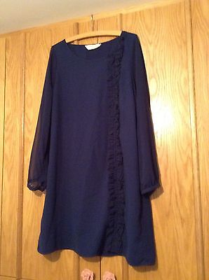 Blue Regency Day Dress Size 18 Super Condition Frill Detail