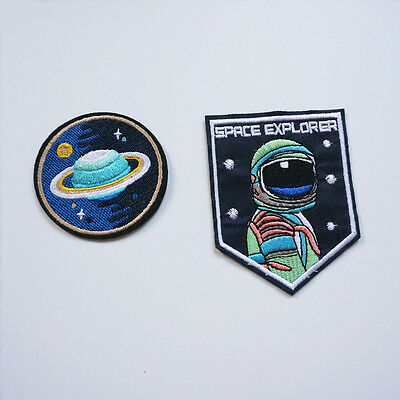 2 x Space Explorer Iron On Sew Patch NASA Applique Badge Embroidered Craft DIY