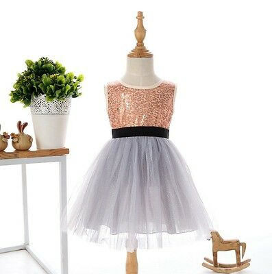 New Girl Dress Sparkled Sequin Lace Tulle TuTu Party size 1,2,3,4,5,6,7 Gift