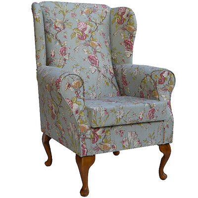 Duck Egg Floral Fabric Wing Back Orthopaedic Fireside Chair - NEW