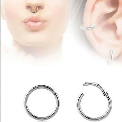 Newest Septum Clicker Nose Ear Tragus Hinged Segment Ring Titanium Body Jewelry