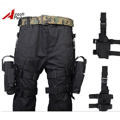 Tactical Airsoft Hunting Pistol Gun Drop Leg Holster for Right + Left Hand Black