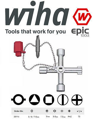 WIHA 36114 Cross Universal Electrical Box Cross Switch/Cabinet Gas Key Wrench