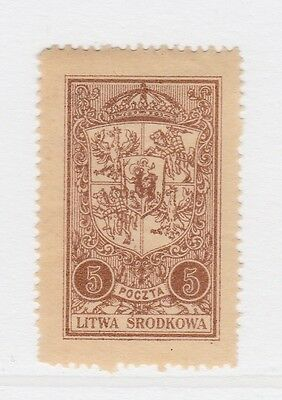 A2P40 CENTRAL LITHUANIA 1921 5m MH*