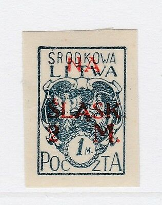 A2P40 CENTRAL LITHUANIA SEMI-POSTAL STAMP 1921 SURCH 1m + 2m MH* #1