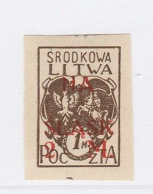 A2P40 CENTRAL LITHUANIA SEMI-POSTAL STAMP 1921 SURCH 1m + 2m MH* #2