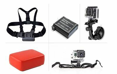 GoPro Hero4 Accessory Kit Chest Mount Floaty Suction Cup Helmet Strap Battery