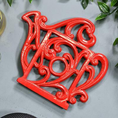 Red Heavy Duty Cast Iron Kettle Shaped Kitchen Trivet