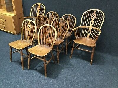 Set Of 8 Antique Farmhouse Windsor Chairs Rare To Find Must Be Seen