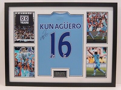 Sergio Aguero FRAMED Genuine Signed Manchester City Shirt RARE AFTAL COA (Z)