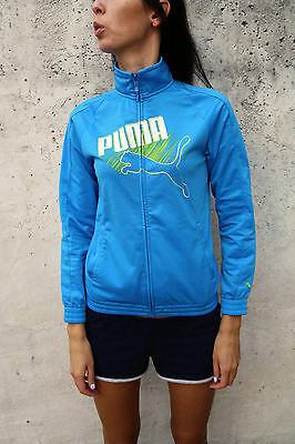 Puma Girls Polyester Shiny Sheen Sky Blue Tracksuit Top 12 yrs 30/32 or Lady XS