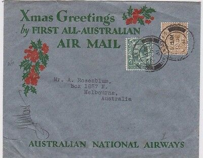 Stamp England on 1931 Christmas 1st all Australian airmail flight cover signed