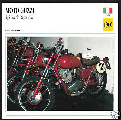 1960 Moto Guzzi 235cc Lodola Regolarita Italy Motorcycle Photo Spec Info Card