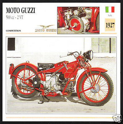 1927 Moto Guzzi 500cc 2 VT (499cc) Italy Motorcycle Photo Spec Sheet Info Card