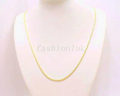 Twist Chain Necklace Lobster Clasp 24K Yellow Gold Plated 60cm Long 2mm UK