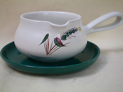 Denby Greenwheat Gravy Sauce Serving Jug Boat & Saucer Stand Very Good Condition