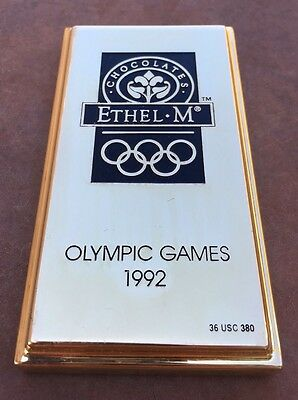 Ethel M Chocolates Gold Bar Paperweight Advertising Olympic Games 1992 Vtg