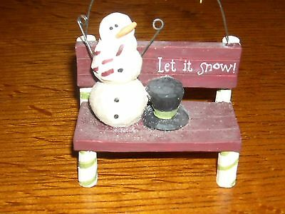 """New Blossom Bucket """"let It Snow"""" Snowman On Bench"""