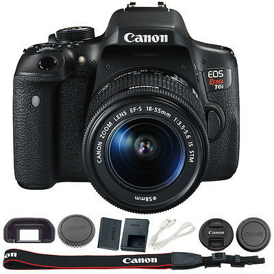 Canon EOS Rebel T6i Digital SLR 1080 Video Camera w EF-S 18-55mm IS STM Lens Kit
