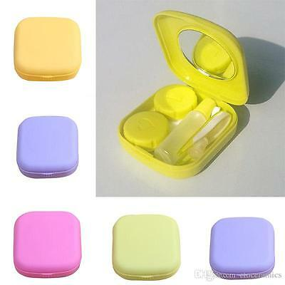 1 Mini Contact lens case Travel Kit Easy Carry Mirror Container Holder compact