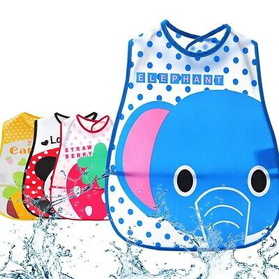 Child Baby Kid Toddler Infant Feeding Bib Waterproof Boy Girl Saliva Pocket UK
