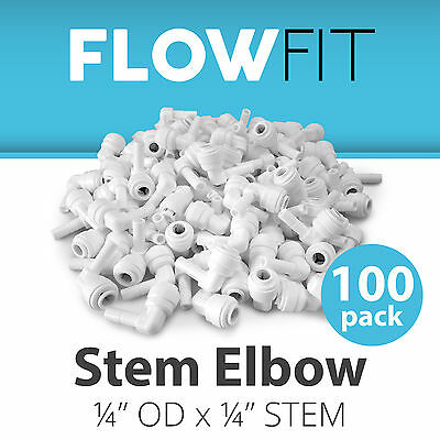"""Stem Elbow 1/4"""" Fitting Connection Parts for Water Filter / RO System - 100 Pack"""