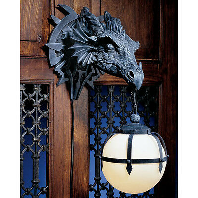 Dragon Head Statue Wall Hanging Sculpture Sconce Lamp Halloween Gothic Decor