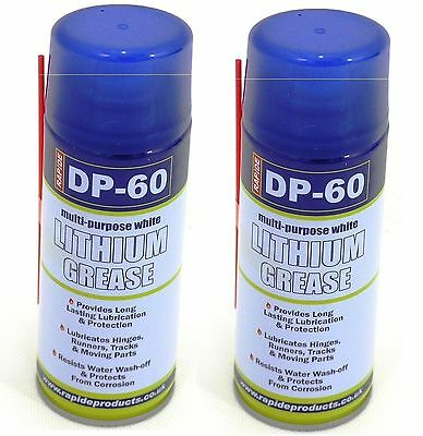2 x DP-60 White LITHIUM GREASE Maintenance Spray Synthetic Lubricant 200ml