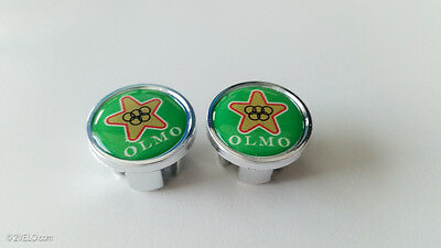 Vintage style OLMO Handlebar End Plugs green