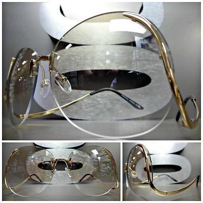 OVERSIZE VINTAGE RETRO Style Clear Lens SUNGLASSES Unique Upside Down Gold Frame