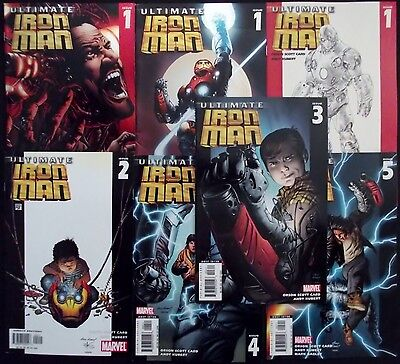 ULTIMATE IRON MAN 1A,1B,1C,2,3,4,5...VF/NM...2005-6...Andy Kubert...Bargain!