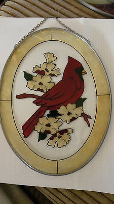 Gorgeous Stained glass wall art, Cardinal on dogwood tree lined yellow surround