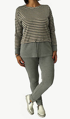 CALALUNA women's trousers brushed fleece grey elastic in life wrist background