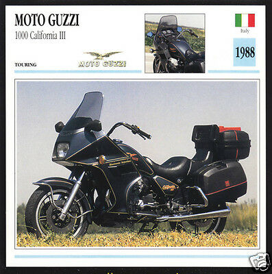 1988 Moto Guzzi 1000cc California III (949cc) Italy Motorcycle Photo Spec Card