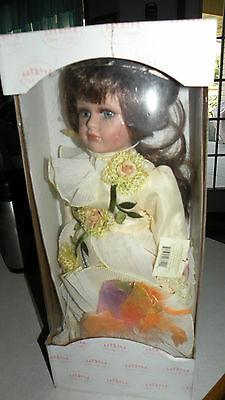 """SHOW STOPPERS Porcelain Doll Hand Painted Victorian 17"""" in original box"""