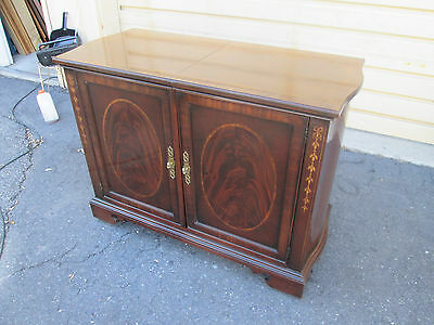 56185  Inlaid Mahogany Bar Cart Server Buffet Cabinet