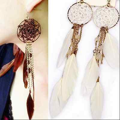 Vintage Style Antique Handmade Long Feather Earrings Dream Catcher Jewelry Hot