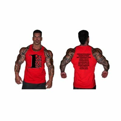 Rich Piana 5% Nutrition 1dayumay Mens Tank Top Red Gym Apparel #06