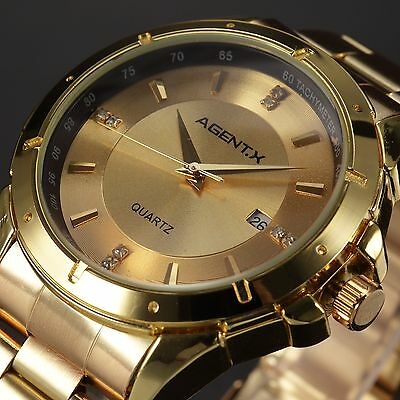 AgentX Casual Business Gold Stainless Steel Band Date Men's Quartz Wrist Watch