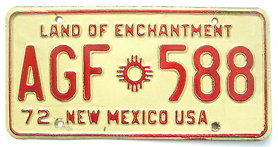 New Mexico 1972 Vintage License Plate Garage Old Car Tag Land of Enchantment