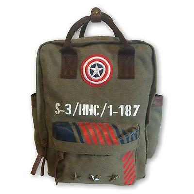 Captain America - Vintage Military Army Canvas Backpack - New & Official Marvel