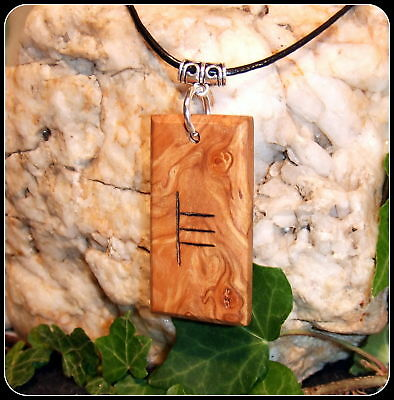 Ogham Pendant Necklace Fern symbol handcrafted from Alder Wood Pagan Celtic