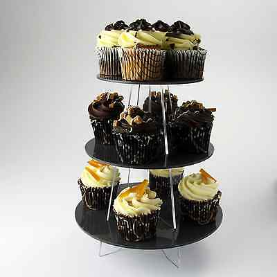 3 Tier Cupcake Stand, Wedding, Birthday, Christening, Party, Acrylic, 30 Colours
