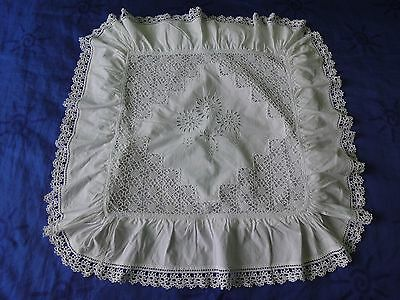 Vintage Handmade Pillowcase with Ruffles Crochet Lace and Cutting Embroidery